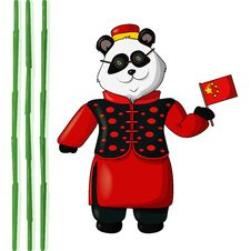 Vector Illustration Of Panda In Chinese Traditional Costume Royalty Free Stock Photography