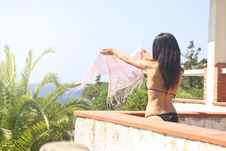 Free Photo Of Woman In Black Bikini Holding Pink Scarf In Balcony Stock Images - 115110974