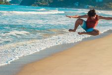 Free Photography Of A Man Jumping On Beach Stock Images - 115111044