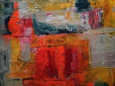 Free Red, Gray, And Yellow Abstract Painting Stock Photos - 115111073