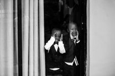 Free Two Boys In Front Of Glass Window Royalty Free Stock Images - 115111149