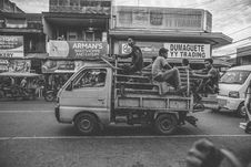 Free Grayscale Photo Of Men Riding On Kei Truck Stock Photo - 115111210