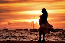 Free Pregnant Woman Standing Near Seashore During Sunset Royalty Free Stock Photos - 115111228
