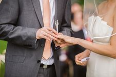 Free Photo Of Groom Putting Wedding Ring On His Bride Royalty Free Stock Images - 115203059