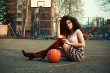Free Photo Of Woman Sitting On Basketball Court Beside Ball Royalty Free Stock Photography - 115203127