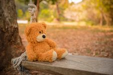 Free Close-Up Photography Of Teddy Bear On Wooden Swing Royalty Free Stock Photo - 115269155