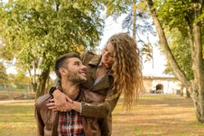 Free Man And Woman Wearing Wearing Brown Leather Jacket Near Green Leaf Tree Royalty Free Stock Image - 115423696