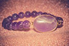 Amethyst Beaded Bracelet Filtered Stock Images