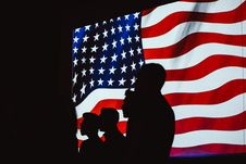 Free Silhouette Of Four Person With Flag Of United States Background Royalty Free Stock Photo - 115483735