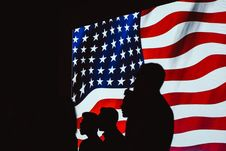 Free Silhouette Of People Beside Usa Flag Royalty Free Stock Image - 115483736