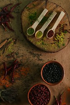Free Photography Of Wooden Spoons Filled With Spices Stock Photography - 115550162