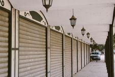 Free Wide Angle Photo Of Gray Roller Shutters Royalty Free Stock Photography - 115550257
