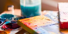 Free Tilt Shift Photo Of Coloring Materia;s Stock Photography - 115550312