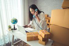 Free Woman Wearing White Dress Shirt Using Blue Telephone Stock Image - 115550431