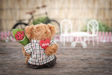Free Brown Bear Plush Toy Holding Red Rose Flower Royalty Free Stock Photos - 115628188