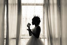 Free Woman In White Wedding Gown Holding Cup Stock Photos - 115628193