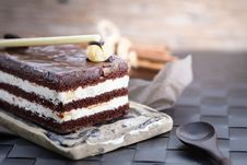 Free Chocolate Cake Slice Stock Photography - 115628202