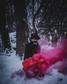Free Photo Of Man Surrounded By Red Smoke Royalty Free Stock Images - 115628259