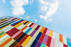 Free Low Angle Of Colorful Glass Panels Under Blue Sky Stock Images - 115694304