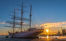 Free White Ship In Dock During Golden Hour Stock Image - 115773741
