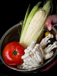 Mix Of Vegetables On Black Stock Photo