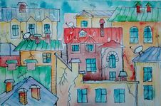 Free Painting, Art, Watercolor Paint, House Stock Images - 115877774