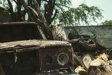 Free Brown Vehicle Beside Tree Trunks Royalty Free Stock Photography - 115913577