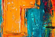 Free Orange And Blue Abstract Painting Royalty Free Stock Image - 115913646