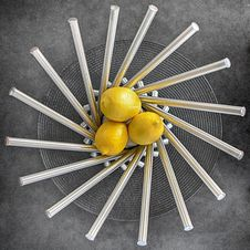 Free Three Lemon Fruits On Steel Bowl Stock Photo - 115913660