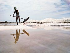 Free Man Plowing Salt Stock Photography - 115913712