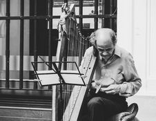 Free Greyscale Photo Of Man Holding Harp Royalty Free Stock Images - 115976859