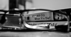 Free Grayscale Photography View Through Eyeglasses Who Will Cry When You Die Labeled Book Stock Photos - 115977103