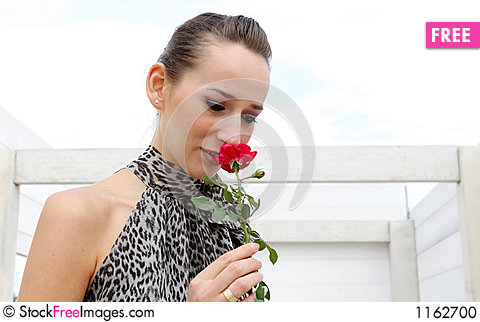 Girl with red rose Stock Photo