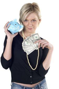 Free Girl Holding Money Royalty Free Stock Image - 1165276