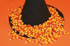 Free Halloween Scene With Witch S Hat, Candy Corn Stock Image - 1165801