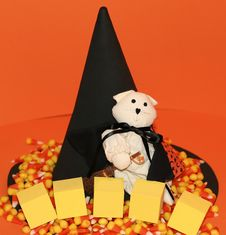 Halloween Cat, Hat, Candy And Blocks Royalty Free Stock Photos