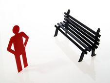Free One Red People Sign And Bench Royalty Free Stock Photo - 1167345