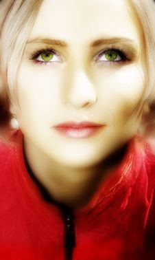 Young Blond Woman In Red Jacket Stock Photos