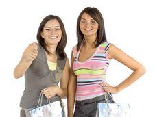 Free Two Shopping Women Stock Image - 1169381