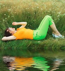 Free Girl On Grass Royalty Free Stock Photo - 1169735