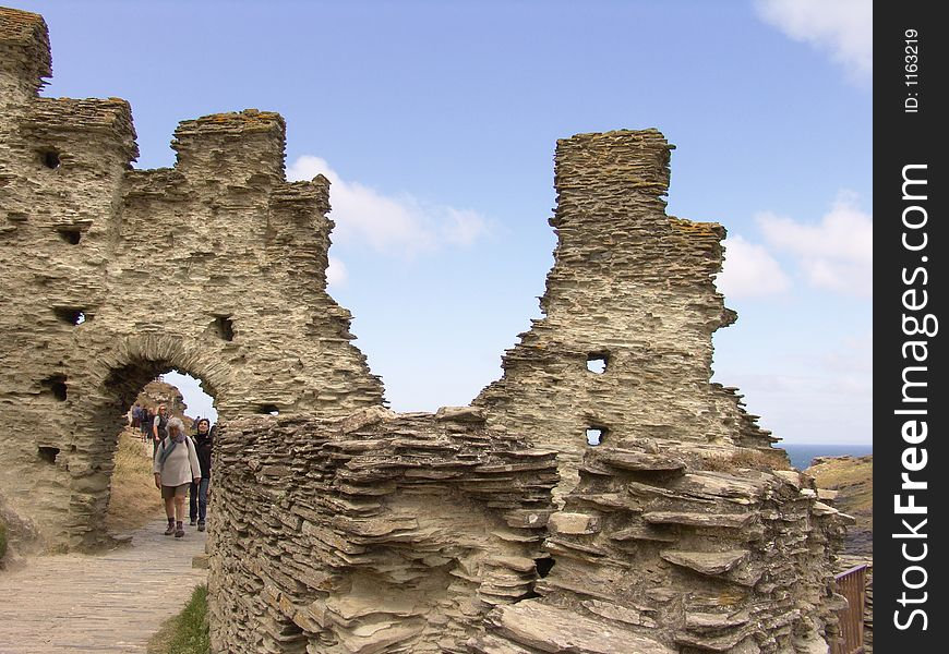 Old castle archway and ruins