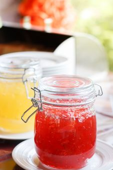 Free Jar With Red Jam On White Sauer Stock Photo - 116049780