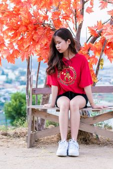 Free Woman Wearing Red Shirt Sitting On Bench Near Tree Stock Photo - 116049940