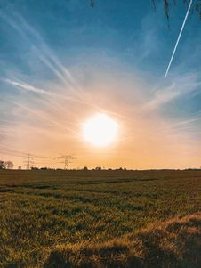 Free Green Grass Field During Sunset Stock Images - 116050084