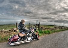 Free Man Wearing Black Leather Jacket Riding Cruiser Motorcycle On Road Royalty Free Stock Photo - 116050145
