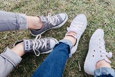 Free Two People Wearing Converse Allstar Low-top Sneakers Stock Images - 116371054