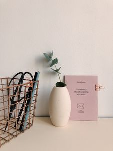 Free White Ceramic Vase Near Brown Metal Case Royalty Free Stock Image - 116371136