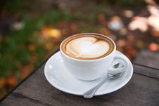 Free Photo Of Coffee Latte On Wooden Table Top Stock Image - 116371211