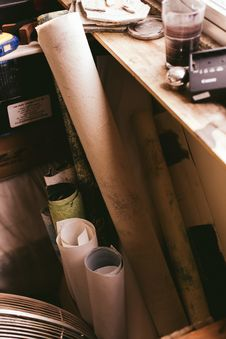 Free Assorted-color Paper Rolls Beside Wooden Shelf Stock Image - 116371221