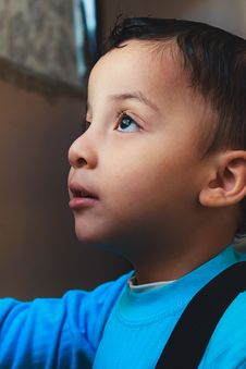 Free Boy Wearing Blue Top Looking Up Royalty Free Stock Image - 116371366